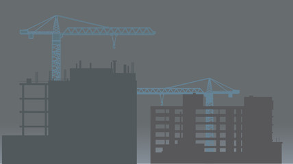 Construction Site with Cranes. Vector Illustration