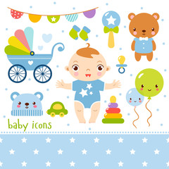 Cute cartoon baby boy set. Vector illustration of a little girl and toys.
