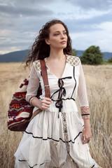 Bohemian woman in the field