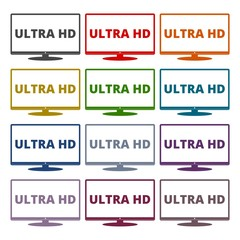 Ultra HD, Monitor, TV icons set