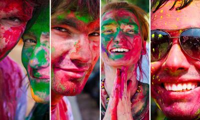 Holi collage. People celebrate festival Holi