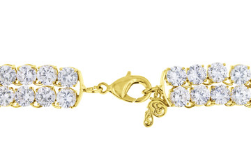 Expensive and Luxurious Double Row Diamond Necklace in Yellow Gold with Huge Diamonds (clasp)