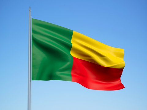 Benin 3d flag floating in the wind with a blue sky background