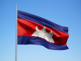 Cambodia 3d flag floating in the wind with a blue sky background