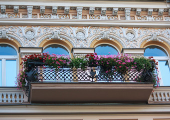 Balcony with flowers and facade of the building in classical sty