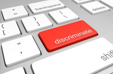 Discriminate key on a computer keyboard representing ease of online prejudice