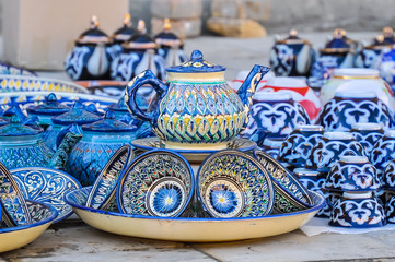 Traditional Uzbek dishes for tea drinking