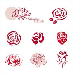Rose symbols design set. Vector illustration.