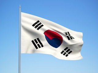 South Korea 3d flag floating in the wind with a blue sky background