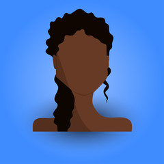 Cool and Artistic Avatar in Flat Design with a Black, African or Indian Brunette Young Woman with Curly Hair for Business, App and Web Design