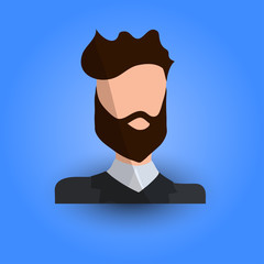 Cool and Artistic Avatar in Flat Design with Caucasian Brunette Young Hipster Guy with a Beard for Business, App and Web Design