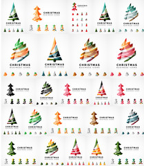 Vector Christmas tree icon set. Geometric design