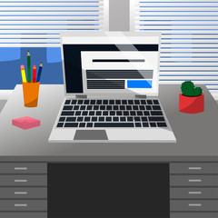 Cool Vector Advanced Study Room with a Laptop, Pen, Pencils, Cute Cactus, Pink Note Stickers on a Grey Desk and Windows with White Jalousie in Flat Design