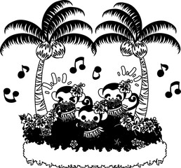 Monkeys dancing hula under the coconut trees