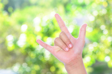 I Love You hand sign.