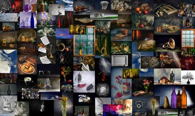 Коллаж из множества фотографий натюрмортов