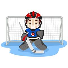 Illustration of Playing Ice Hockey Player