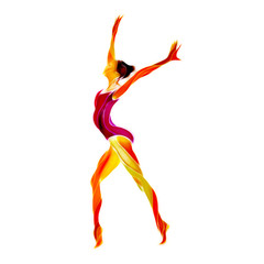Creative silhouette of gymnastic girl. Art gymnastics dancing woman, art illustration