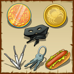 Set of masks, medallions and other items