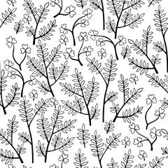 Beautiful monochrome Flowers set. Vector seamless pattern.