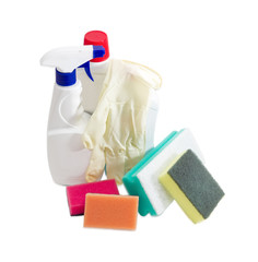 Various cleaning sponges, bottles of cleaning agent, rubber glov