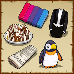 Set of sweets, newspapers, penguin and other items