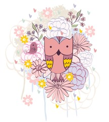 Stylish floral background with cartoon owl in light colors.