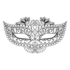 Mardi Gras Carnival Mask for coloring book and other decorations