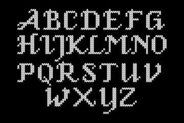 Black and white knitted alphabet