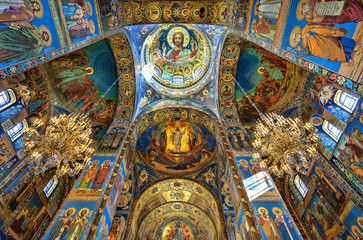 Mosaics in the interior of the Church of the Savior on Spilled Blood in St. Petersburg, Russia.