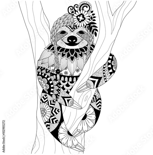 Quot Sloth Zentangle Design For Coloring Book For Adult And