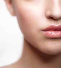 Half face female beauty portrait
