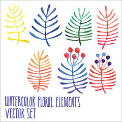 Colorful floral collection with leaves and berries, drawing watercolor. Spring or summer design for invitation, wedding or greeting cards. Set of floral elements for your compositions.