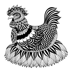 Hand drawn zentangle chicken for coloring book for adult