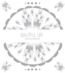 decorative solid pattern pattern in the composition in a circle with flowers and the inscription beautiful day on white background