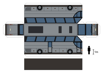 Paper model of a touristic bus / Vector illustration