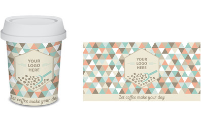 Paper cup/mug coffee design for your company in vector, turquoise, coral, white, brown. Only add your logo.