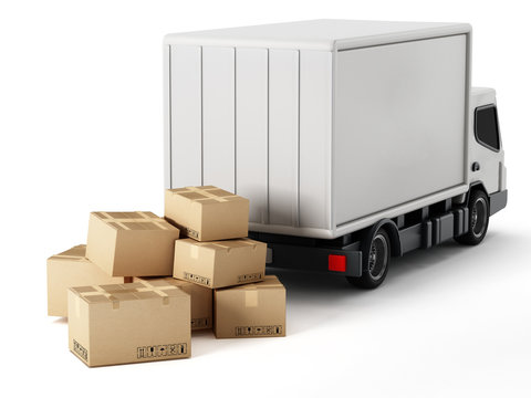 Transport truck with cardboard boxes