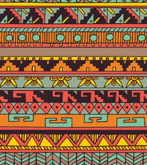 Seamless ethnic geometric doodle colorful pattern in vector