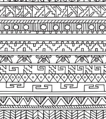 Seamless ethnic geometric doodle colorful pattern in outline style