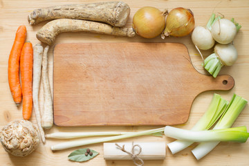 Vintage retro vegetables and empty cooking board food concept