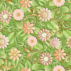 Volumetric seamless floral pattern background.