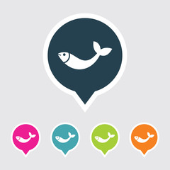 Very Useful Editable Fish Icon on Different Colored Pointer Shape. Eps-10.