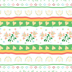 Seamless ethnic mix  tropical flower pattern with geometric lines for background. Hand drawn stripe decorated with hand painted flowers.