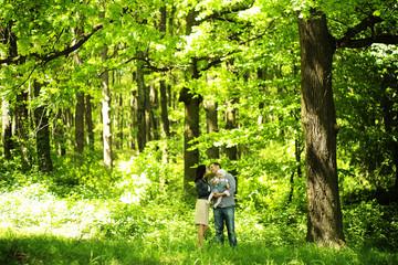 Family portrait in woods