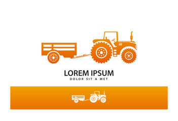 Tractor with Trailer Logo Vector