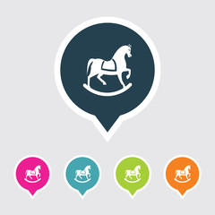 Very Useful Editable Toy Horse Icon on Different Colored Pointer Shape. Eps-10.