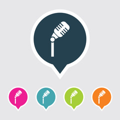 Very Useful Editable Microphone Icon on Different Colored Pointer Shape. Eps-10.