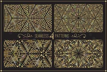 Set of luxuty gold prints, vector illustration, glowing backgrou