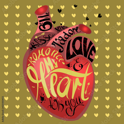 Drawing The Human Heart On Gold Background Pattern Of Cartoon Hearts Humor Comic Style